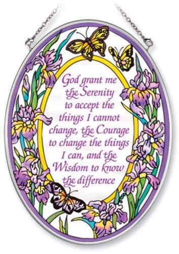 Glass Serenity Suncatcher - Stained Glass Suncatcher Serenity Prayer 5.5