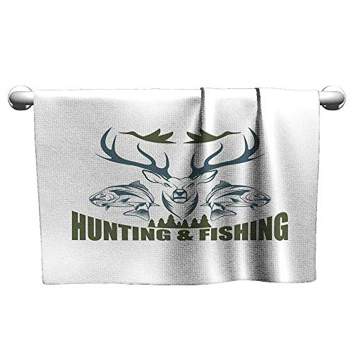 Oversized Beach Towel,Hunting Decor,Artistic Emblem Moose Head Horns Trout Salmon Sea Fishes,Olive Green Slate Blue White Sports, and Swimming Ultra Light, Fast Drying and Absorbent20