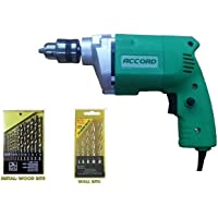 Agni/Prithvi/Advance/Alpha/Accord/Yuri Toolsvilla Combo- Powerful Drill Machine 10mm With 2 Drill Kits For Drilling Wood,Metal,Wall