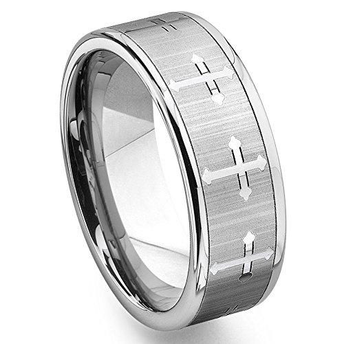 - Tungsten Men's Wedding Band Ring (7.5mm) with Cross Design Sz 9.0 SN#614