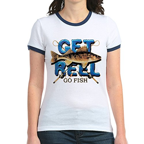 Kids Ringer Fish T-shirt (Royal Lion Jr. Ringer T-Shirt Get Reel Go Fish Fishing Fisherman - Navy/White, XL)
