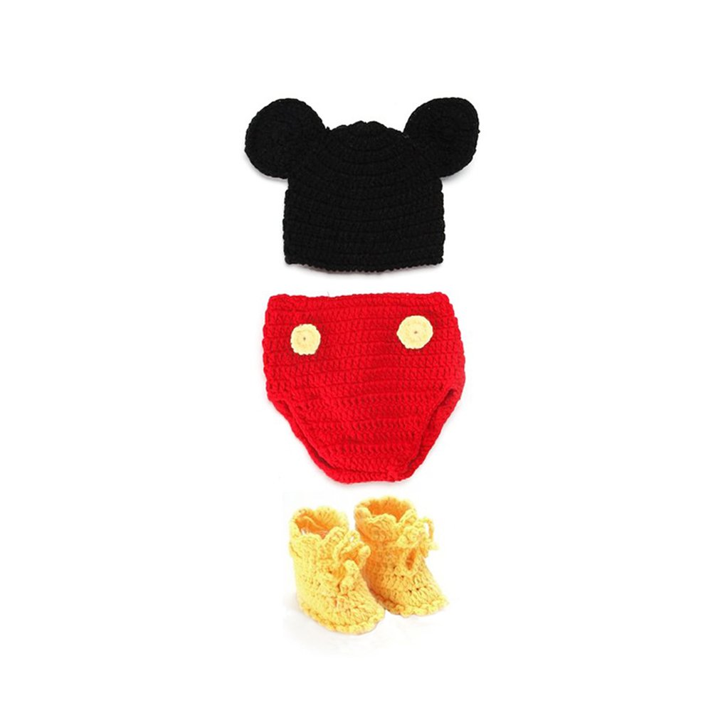 NUOLUX Newborn Baby Photography Props Boy Girl Crochet Costume Outfits Hat Mouse Set by NUOLUX