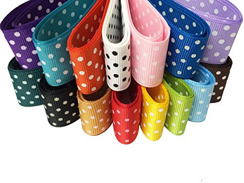 - PEPPERLONELY Brand 15 Yards 1 Inch French Dots Printed Grosgrain Ribbon