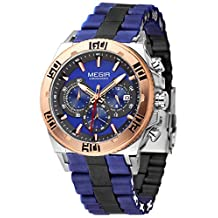 Megir Silicone and Stainless Steel Military Sport Casual Chronograph Men Quarzt Watch