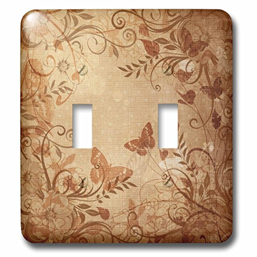 3dRose lsp_184664_2 Pretty Damask Floral Accented Earth Tones Butterfly Designer Original Light Switch Cover