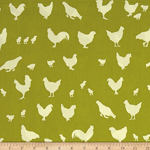 Birch Organic Farm Fresh Hen And Friends Grass Fabric By The Yard (Birch Farm White)