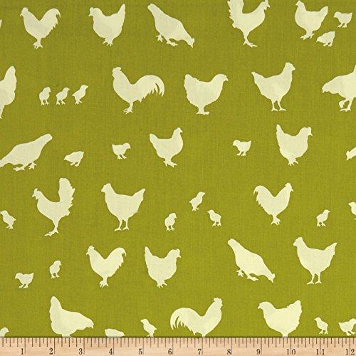 Birch Organic Farm Fresh Hen And Friends Grass Fabric By The Yard (Farm Birch White)