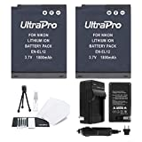 EN-EL12 Battery 2-Pack Bundle with Rapid Travel Charger and UltraPro Accessory Kit for Select Nikon Cameras Including Coolpix S9300, S9400, S9500, S6300, and S8200