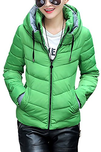 XuyIeY Women's Winter Parka Jacket Warm Stand Collar Cotton Quilted Down Coat Green