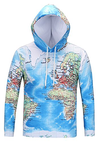Pizoff Mens Boys Casual Long Sleeve Funny World Map Print Work Out Pullover Hoodie T-Shirt (Usa Map Mens Hoodie)