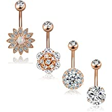 REVOLIA 3-4Pcs 14G Stainless Steel Belly Button Rings for Women Girls Navel Rings CZ Body Piercing Jewelry