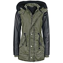 Welldressing Women's Faux Leather Sleeve Military Hooded Warm Winter Jackets