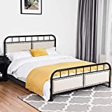 Giantex Metal Bed Platform Frame with Comfortable Upholstered Headboard and Footboard, Solid Design and Vintage Style, for Mattress Foundation (Chocolate, Queen Size)