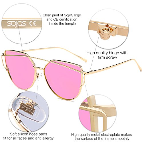 Lente Gato C11 De Para De SOJOS Marca Mujer Metal Gafas Espejo Rosa Oro Ojo Planos SJ1001 Marco De Moda Con Lentes Estilo Fusia Sol De xCTxqBfH