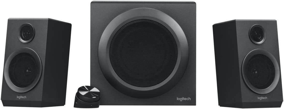 Logitech Z333 2.1 Sistema de Altavoces con Subwoofer, Sonido Impactante, 80 Vatios de Pico, Graves Potentes, Entradas de 3.5 mm/RCA, Enchufe UK, PC/PS4/Xbox/TV/Móvil/Tablet, Negro