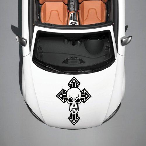 Vinyl Decals for Car Hood Skull Cross Pattern Sticker Art Any Vehicle Window Graphics Mural (4921)