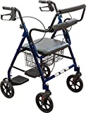 Roscoe Transport Rollator with Padded Seat, Blue, Easy Folding System, 8 Inch Wheels, Weight Capacity: 250 Pounds