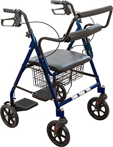 Roscoe Medical 30194 Transport Rollator with Padded Seat, Blue (Loop Lock Blue Padded Seat)