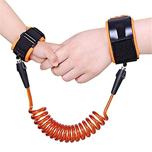 (Baby Child Anti Lost Safety Wrist Link Harness Strap Rope Leash Walking Hand Belt Band Wristband for Toddlers (orange))