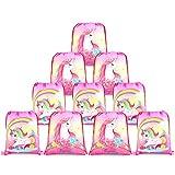 Konsait Cute Unicorn Drawstring Backpack Bags for Kids Girls, Gift Treat Goody Birthday Party Favor Bags, Unicorn Party Supplies Bags Bulk (10 Pack)