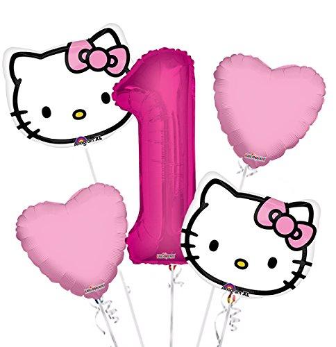 Hello Kitty Head Balloon Bouquet 1st Birthday 5 pcs - Party Supplies