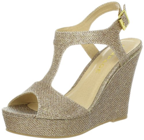 (Rampage Women's Candelas Dress Platform Wedge Sandals 7 Blush Glitter)