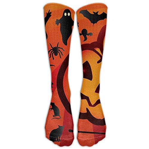 XINGWAN Halloween Pumpkin Ghost Bat Unisex Novelty Unique Funky Calf Long Sock Athletic Tube Crew Stockings Gift