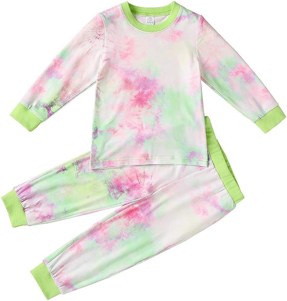 Toddler Kids Boys Girls 100/% Cotton Clothes Set Baby Tie-Dye Sleepwear Pajamas 2pcs Pjs Set