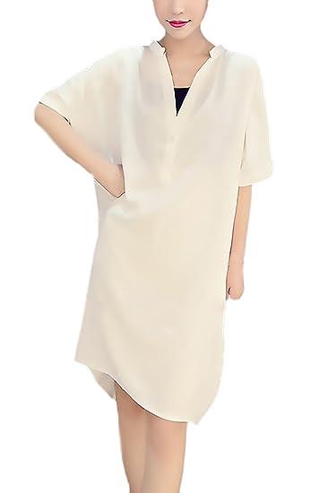 Blusas De Mujer Elegantes Tallas Grandes Verano Camisa De Gasa Manga Corta V Cuello Ropa EN