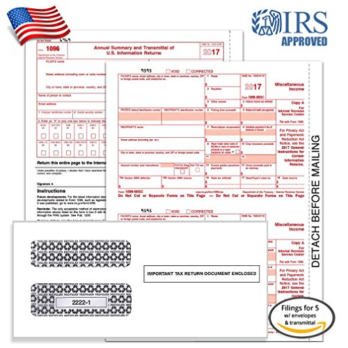 1099 MISC Tax Forms for 2017 - 4-Part Form Sets for