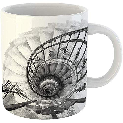 Coffee Tea Mug Gift 11 Ounces Novelty Ceramic Upside View of Indoor Spiral Winding Staircase Black Metal Ornamental Handrail Gifts For Family Friends Coworkers Boss Mug