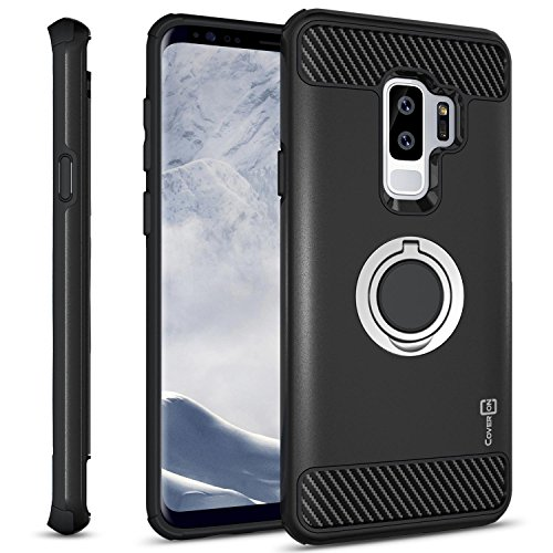 Galaxy S9 Plus Ring Case, CoverON RingCase Series Protective Hybrid Phone Cover with Grip Ring and Carbon Fiber Trim for Samsung Galaxy S9 Plus
