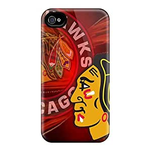 Iphone 4/4s Chicago Blackhawks Print High Quality Tpu Gel Frame Case Cover
