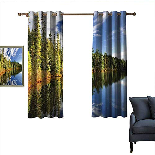 longbuyer Landscape Thermal Insulated Drapes for Kitchen/Bedroom Forest Reflecting on Calm Lake Shore at North Canada Universe Art Print Wear Rod 63
