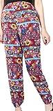 HTOOHTOOH Women's Chiffon Lantern Ethnic Style Muslim Printing Baggy Harlan Pants Red XL