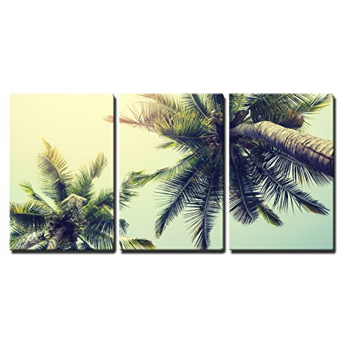 """Wall26 - 3 Piece Canvas Wall Art - Vintage Nature Background of Coconut Palm Tree on Tropical Beach Blue Sky - Modern Home Decor Stretched and Framed Ready to Hang - 24\""""x36\""""x3 Panels"""