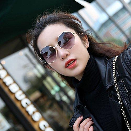 de Gafas Metal Gris Personalidad Gafas Amarillo Poligonal Té Azul Octagonal Color Gris Gris Gafas Sol Retro Hombre Hipster Mujer AAnwr5Rq