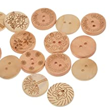 Souarts Mixed Natural Color Round Shape 2 Holes Wooden Buttons Flower Life Tree Pack of 100pcs