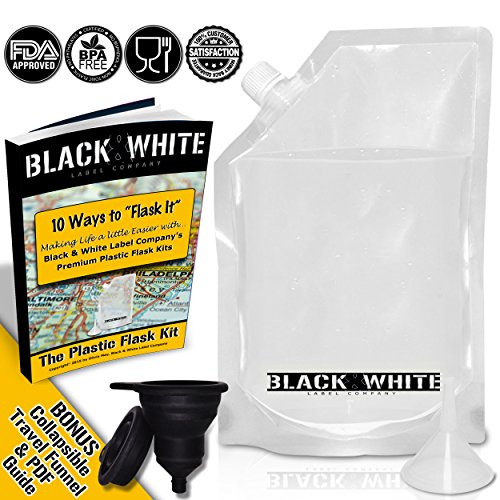 3-Black-White-Label-Premium-Plastic-Flasks-Liquor-Rum-Runner-Flask-Cruise-Kit-Sneak-Alcohol-Drink-Wine-Pouch-Bag-Set-Heavy-Duty-Reusable-Concealable-Flasks-For-Booze-Cocktails-1x32oz1x16oz1x8oz-Funnel