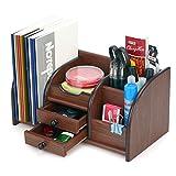 AZDENT Wood Desktop Organizer Office Supplies Desk Storage Rack Remote Caddy 2 Drawers 5 Compartments 2 Mail Sorter