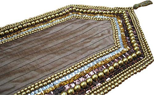 Handmade, Designer, Decorative Table Runners - Rust, Gold, Clear - 14 x 36 inch - Silk - Beaded Table Runner Golden Pearls Sequin Bead Crystal Stone Embroidered Pleated Elegant Table - Embroidered Stone