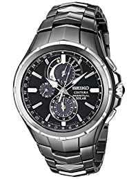 Seiko Men's SSC377 Coutura Solar Perpetual Chrono Analog Display Japanese Quartz Black Watch