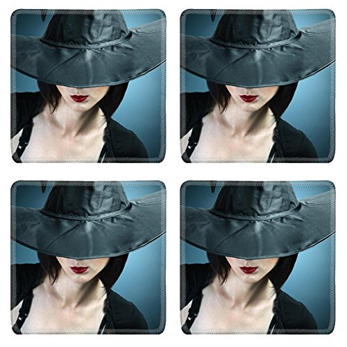 Luxlady Natural Rubber Square Coasters IMAGE ID: 34578837 Young woman in a witch costume her face covered with a hat