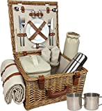 Wicker Picnic Hamper with cutlery, utensils, glassware, chinaware with and without cooler bags for 2, 4 or 6 Persons
