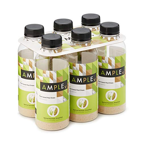 (Vegan, Plant-Based Meal Replacement Shake in a Bottle, (Pack of 6) Meals, Regular 400 Calories, Made with Natural Real Food Ingredients. Ample V)