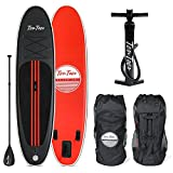 Ten Toes Weekender Inflatable Stand Up Paddle Board Bundle, Black/Red, 10'