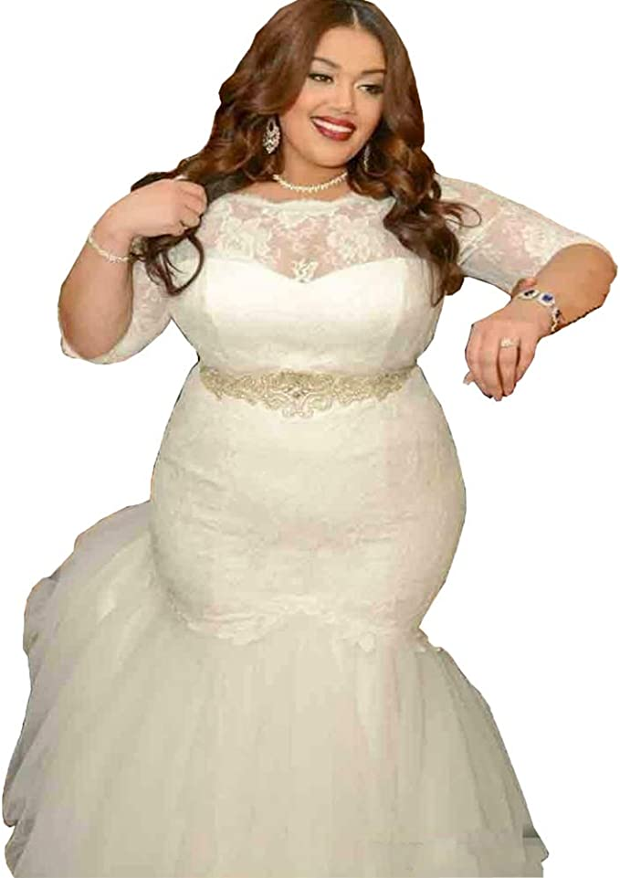 Dreamdress Women\'s Lace Mermaid Wedding Dresses Plus Size Bridal Gowns