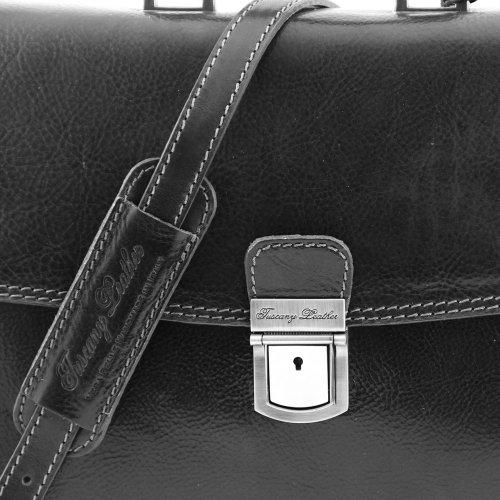 Tuscany Leather - Bolso al hombro de piel de cerdo para hombre negro negro