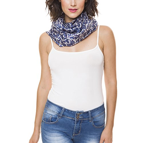 Scarf for Women 100% Silk Spring Winter by Melifluos Fashion Large Lightweight Blue Navy Seagull Crane Scarves Scarfs - Fashion Womens Large
