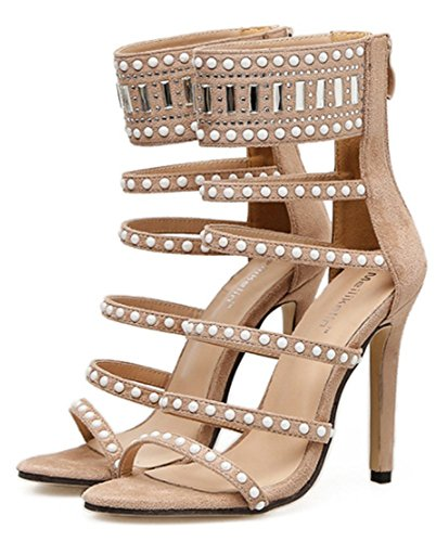 Chaussures Bout Hauts À Boucle Femme Velour Soiree Beige Ouvert Yogly Strass Avec Talons Sandales Sexy Club Escarpins OZXwPukiT